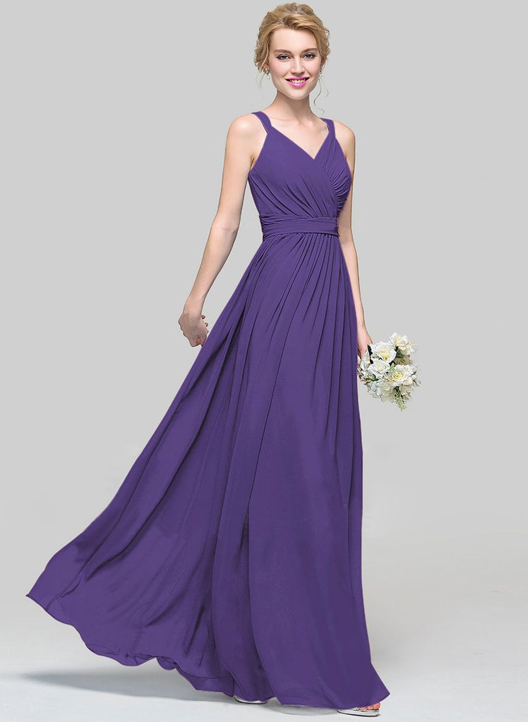 Darcy cadbury purple long bridesmaid wedding evening dress for Purple maxi dresses for weddings
