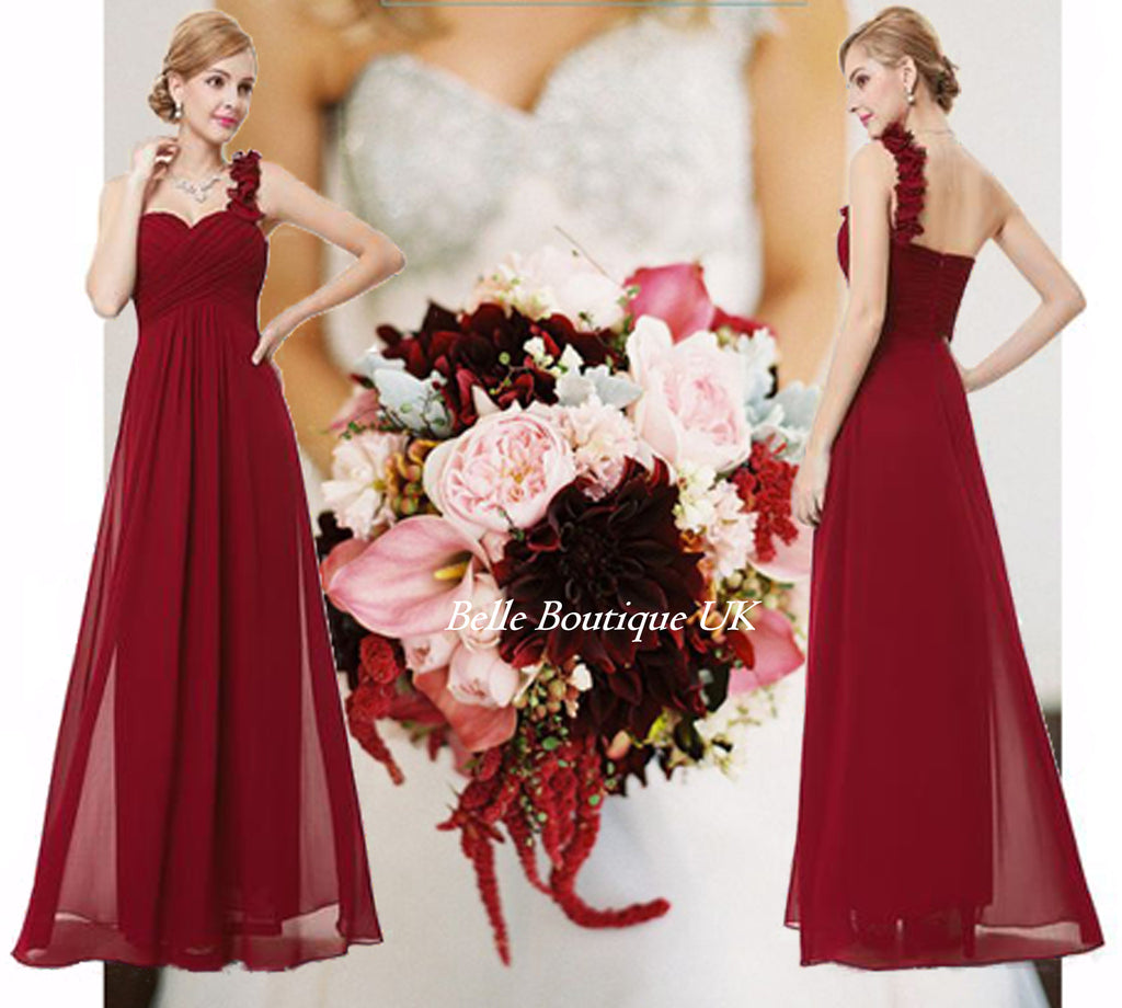 Elodie burgundy wine red one shoulder corsage bridesmaid dress uk elodie long dress burgundy wine belle boutique uk ombrellifo Gallery