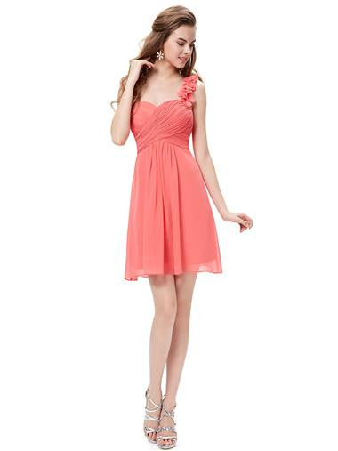 ELODIE Short Dress - Coral - Belle Boutique UK