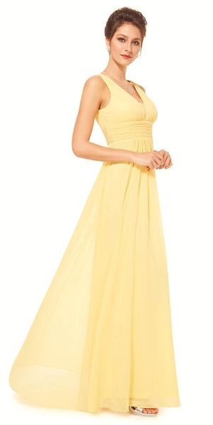 Emily buttercup yellow bridesmaid wedding long dress for Yellow maxi dress for wedding