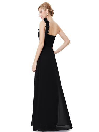 ELODIE Long Dress - Black - Belle Boutique UK