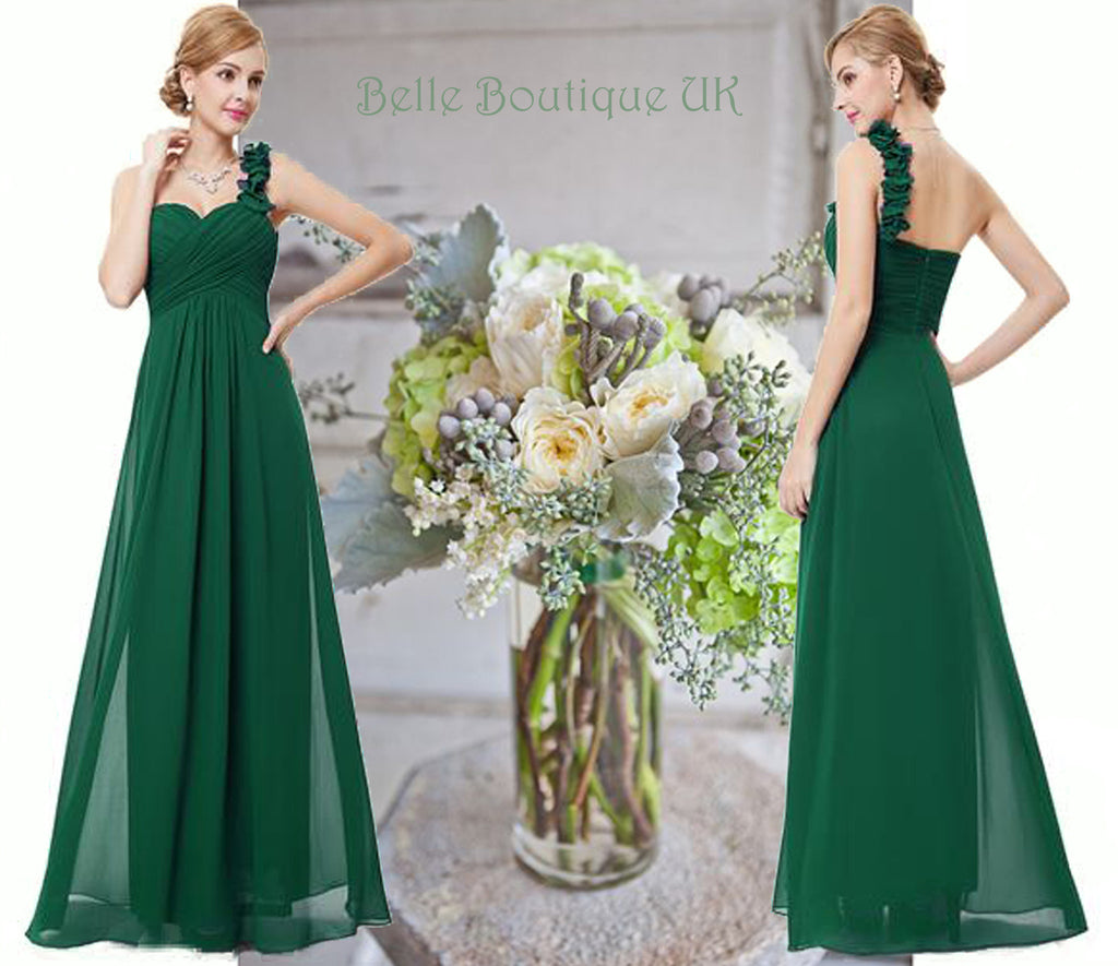 Elodie green one shouldered bridesmaid dress belle boutique uk elodie long dress green belle boutique uk ombrellifo Images