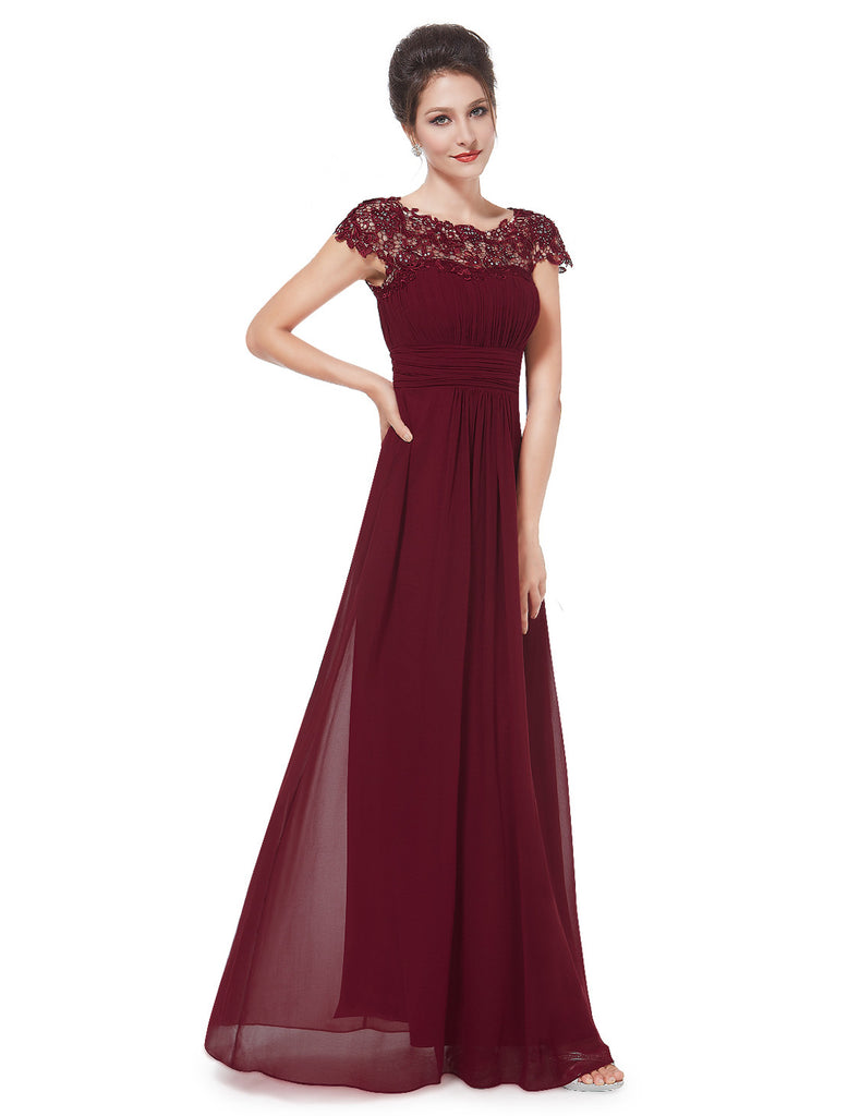katie burgundy wine red lace long bridesmaid evening dress uk belle boutique uk. Black Bedroom Furniture Sets. Home Design Ideas