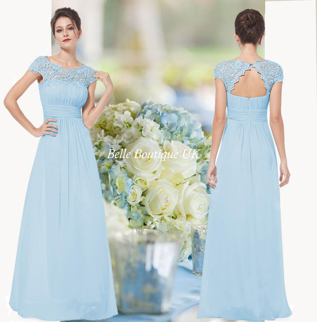 Katie pale blue lace chiffon long bridesmaid evening dress for Baby blue wedding guest dress
