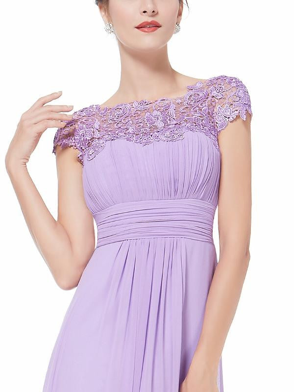 KATIE Lilac Long Lace Chiffon Bridesmaid Wedding Evening Prom Dress ...