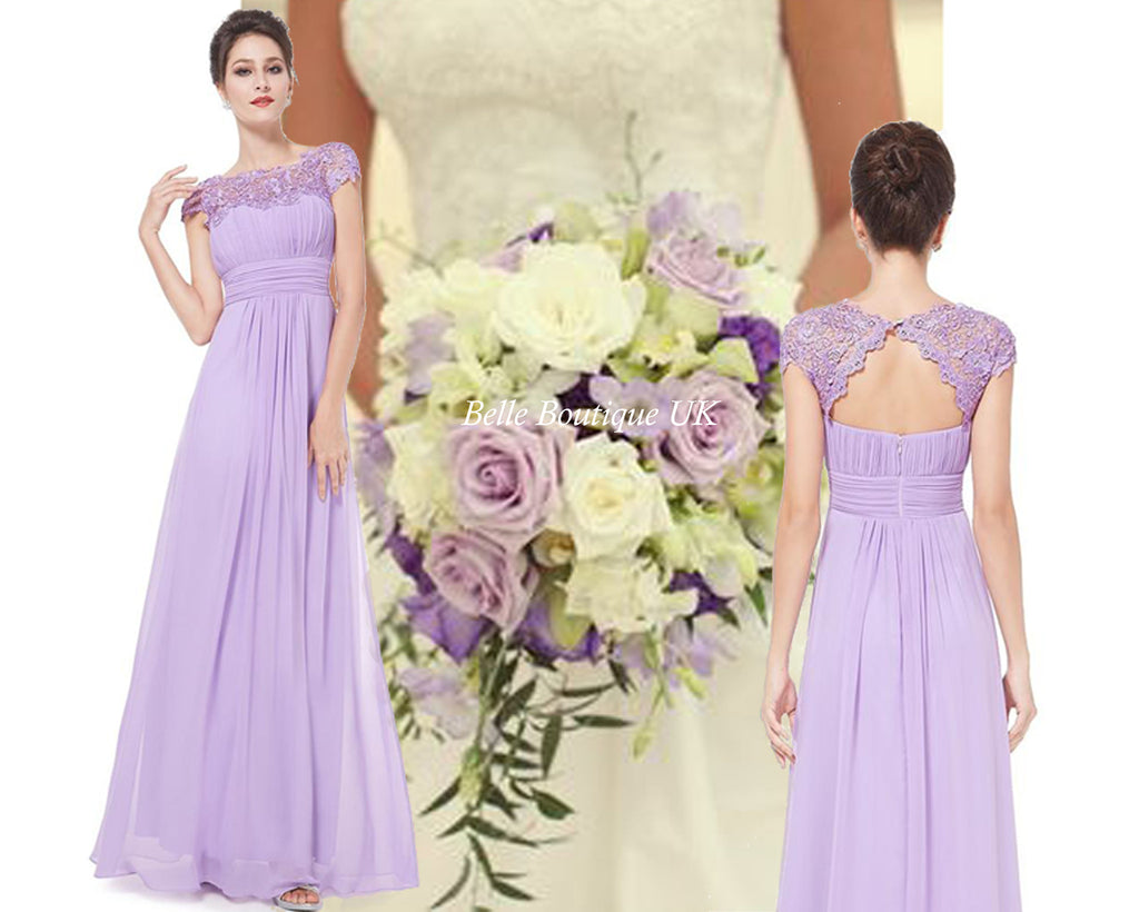 Katie lilac long lace chiffon bridesmaid wedding evening prom katie dress lilac belle boutique uk ombrellifo Choice Image
