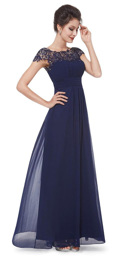 KATIE Navy Blue Lace Long Bridesmaid Evening Occasion Dress UK ...