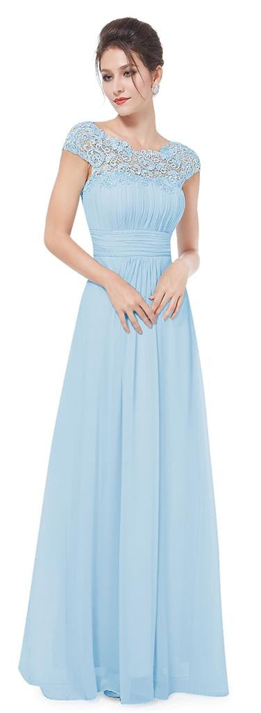 Katie pale blue lace chiffon long bridesmaid evening dress for Pale blue dress for wedding