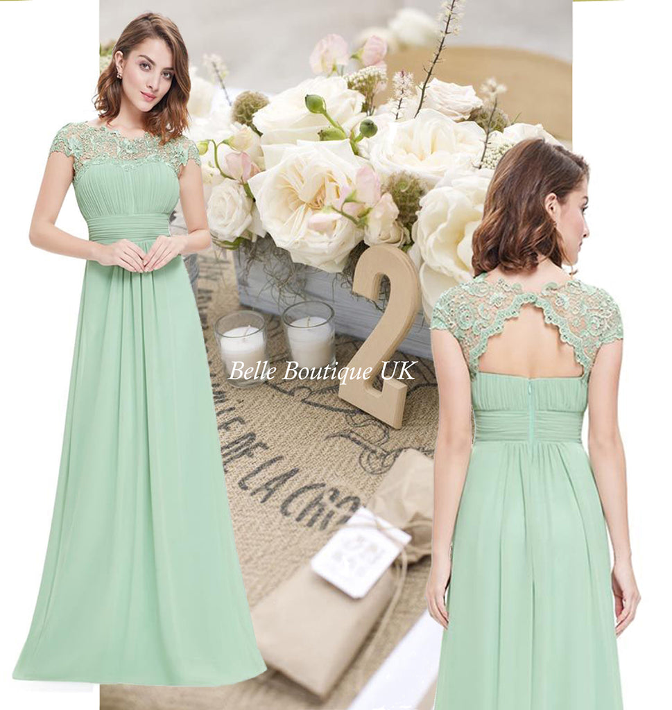 KATIE Sage Green Bridesmaid Formal Occasion Dress – Belle Boutique UK
