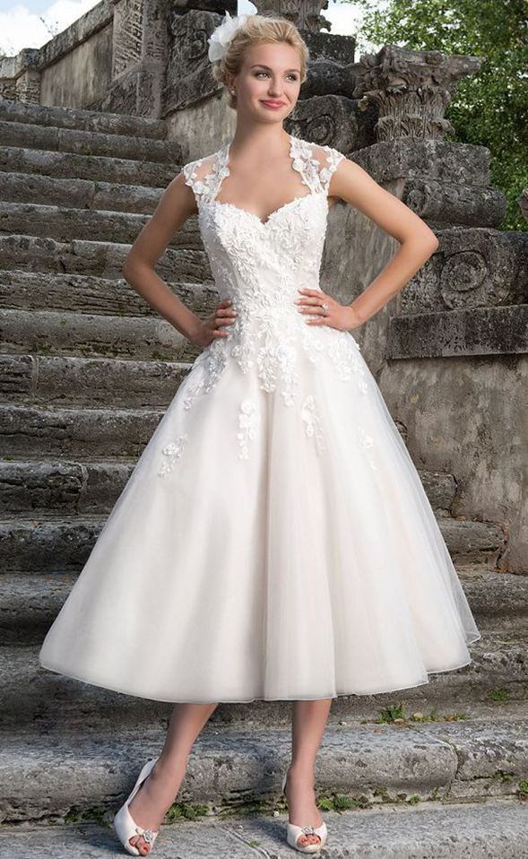 LARISSA Ivory White Tea Length Vintage Chiffon Lace Wedding Bridal ...