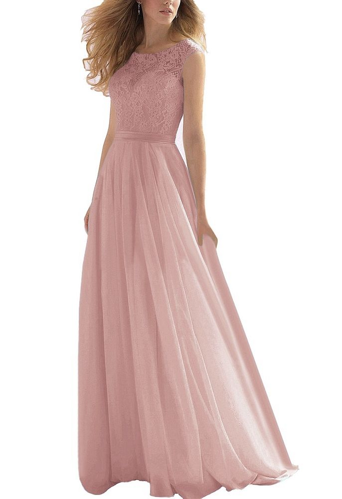 LILLY Dusky Blush Pink Lace Bridemaid Prom Ballgown Dress UK Seller ...