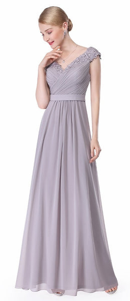 LORI Beaded Applique Dress - Silver Grey - Belle Boutique UK