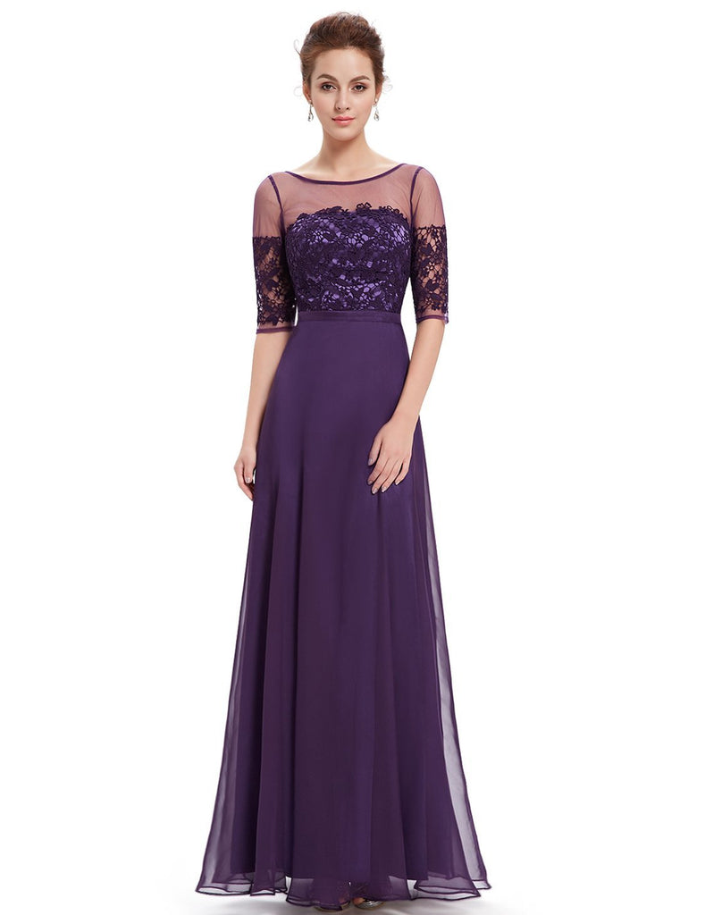 MARILYN Purple Lace Chiffon Long Evening Bridesmaid Occasion Dress ...
