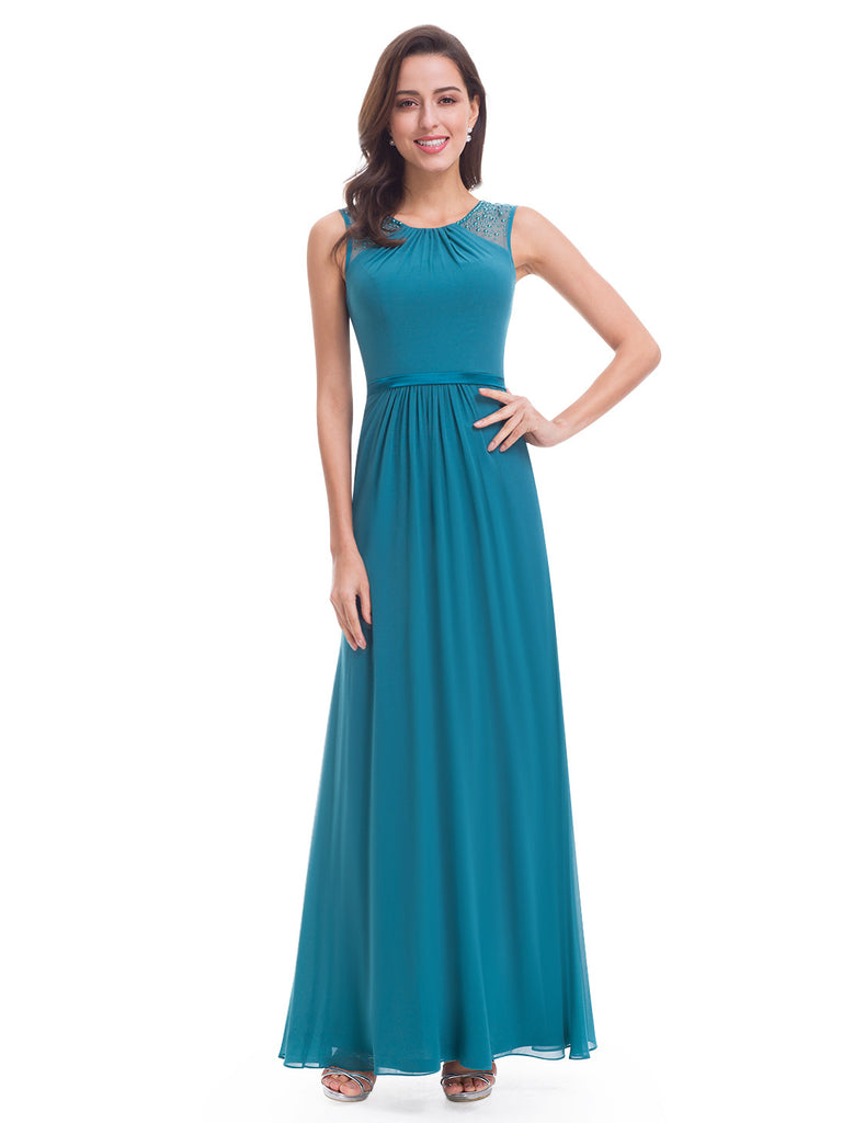 Willow Teal Blue Beaded Long Bridesmaid Evening Prom Dress – Belle ...