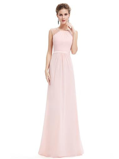 Willow Pale Pink Beaded Long Bridesmaid Evening Prom Dress