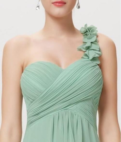 Elodie Pale Sage Green Corsage One Shoulder Long