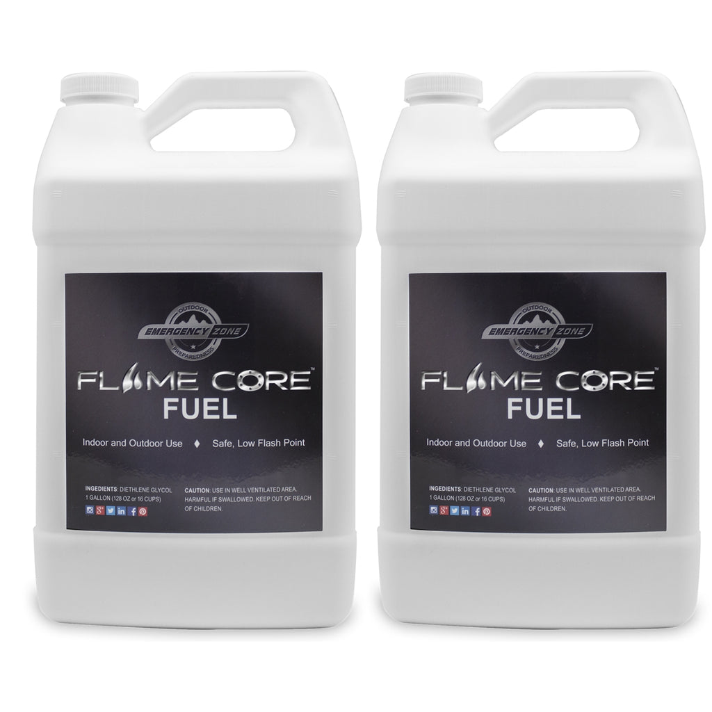 Flame Core Fuel – 2 Pack of 1 GALLON JUGS - DIETHYLENE GLYCOL LONG SHELF LIFE FUEL