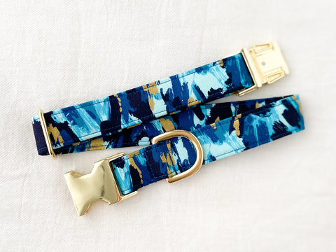 Royal Blue & Metallic Gold Black Friday Dog Collar