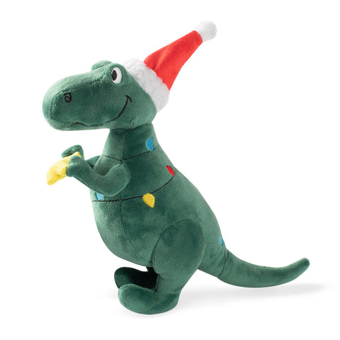 Santa Lights T-Rex Dog Toy