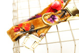 Gold Floral Velvet Dog Collar