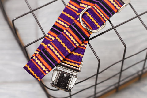 Rick Rack Purple & Orange Dog Collar