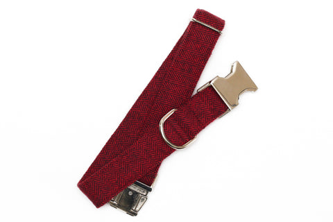 Burgundy Herringbone Flannel Dog Collar