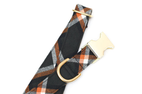 Olive Flannel Plaid Dog Collar