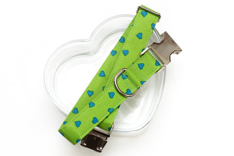 Green & Blue Hearts Valentines Dog Collar