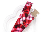 Plaid Valentines Dog Collar