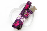 Purple Floral Velvet Dog Collar
