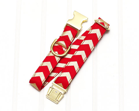 Red & Gold Chevron Dog Collar