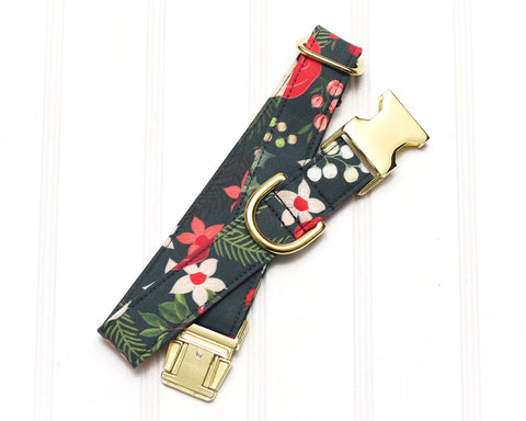 Dk Green Christmas Floral Dog Collar