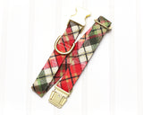 Glitter Christmas Plaid Dog Collar