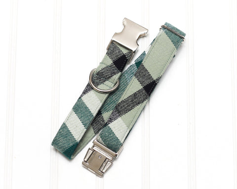 Mint Flannel Plaid Dog Collar