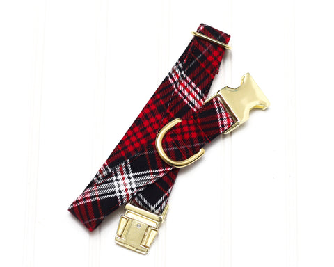 Red Flannel Plaid Dog Collar