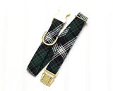 Green Flannel Plaid Dog Collar