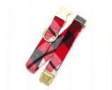 Red, Dark Green & White Plaid Dog Collar