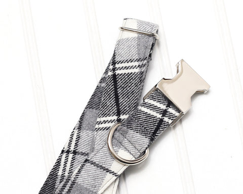 Black and White Plaid Dog Collar