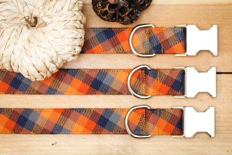 Orange, Blue, Goldenrod Flannel Dog Collar