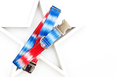 Red, White & Silver Ombre Dog Collar