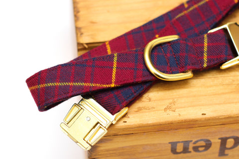 Burgundy Plaid Flannel Dog Collar