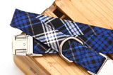 Royal Blue Plaid Flannel Dog Collar