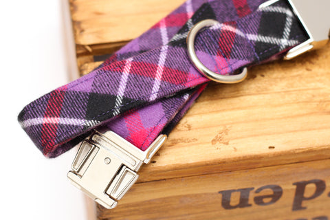 Purple Plaid Flannel Dog Collar