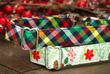 Plaid Dog Collar, Winter Dog Collar, Christmas Dog Collar, red, green, yellow, Dog Lover Gift, Dog Stocking Stuffer, Puppy, Metal Hardware
