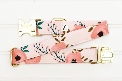 Light Pink Floral Dog Collar