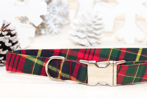 Christmas Plaid Dog Collar