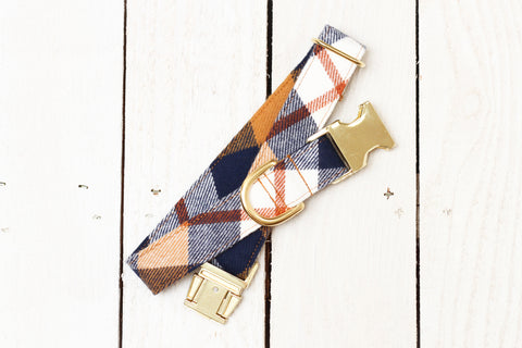 Navy and Copper Flannel Dog Collar