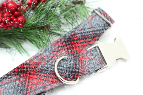 Gray & Red Plaid Dog Collar