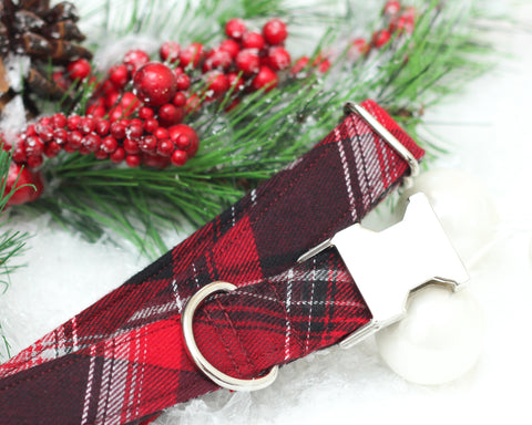 Red & Black Plaid Dog Collar