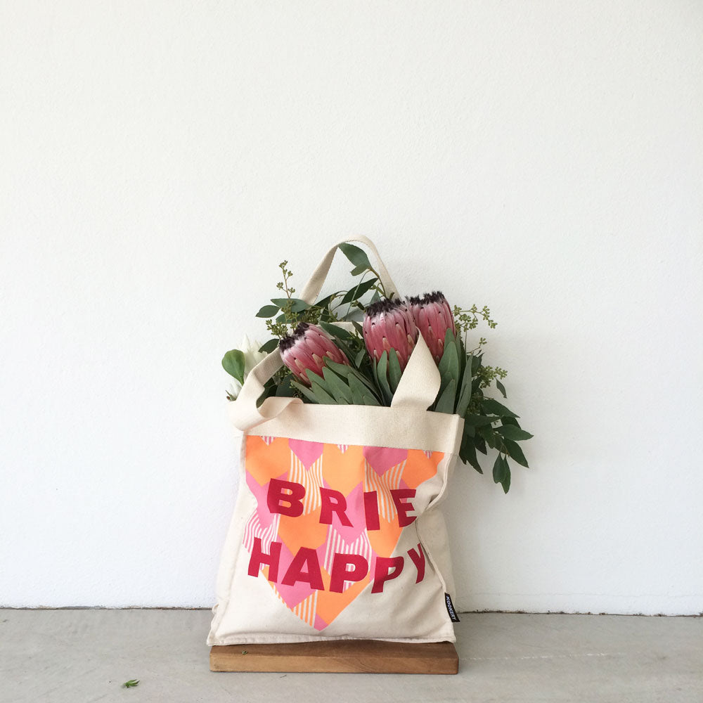 Brie Happy shopping tote with internal side pockets *psst great for wine